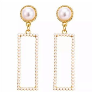 Pearl Rectangle Statement Vintage Style Earrings